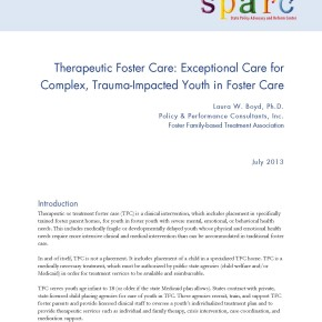 Brief: Therapeutic Foster Care: Exceptional Care for Complex, Trauma-Impacted Youth in Foster Care