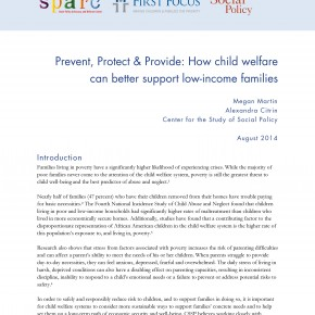 Brief - Prevent, Protect & Provide: How child welfare can better support low-income families