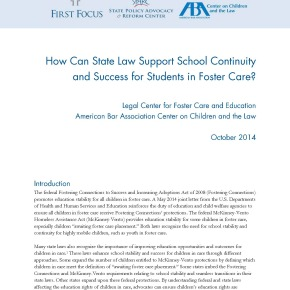 Brief: How Can State Law Support School Continuity and Success for Students in Foster Care?